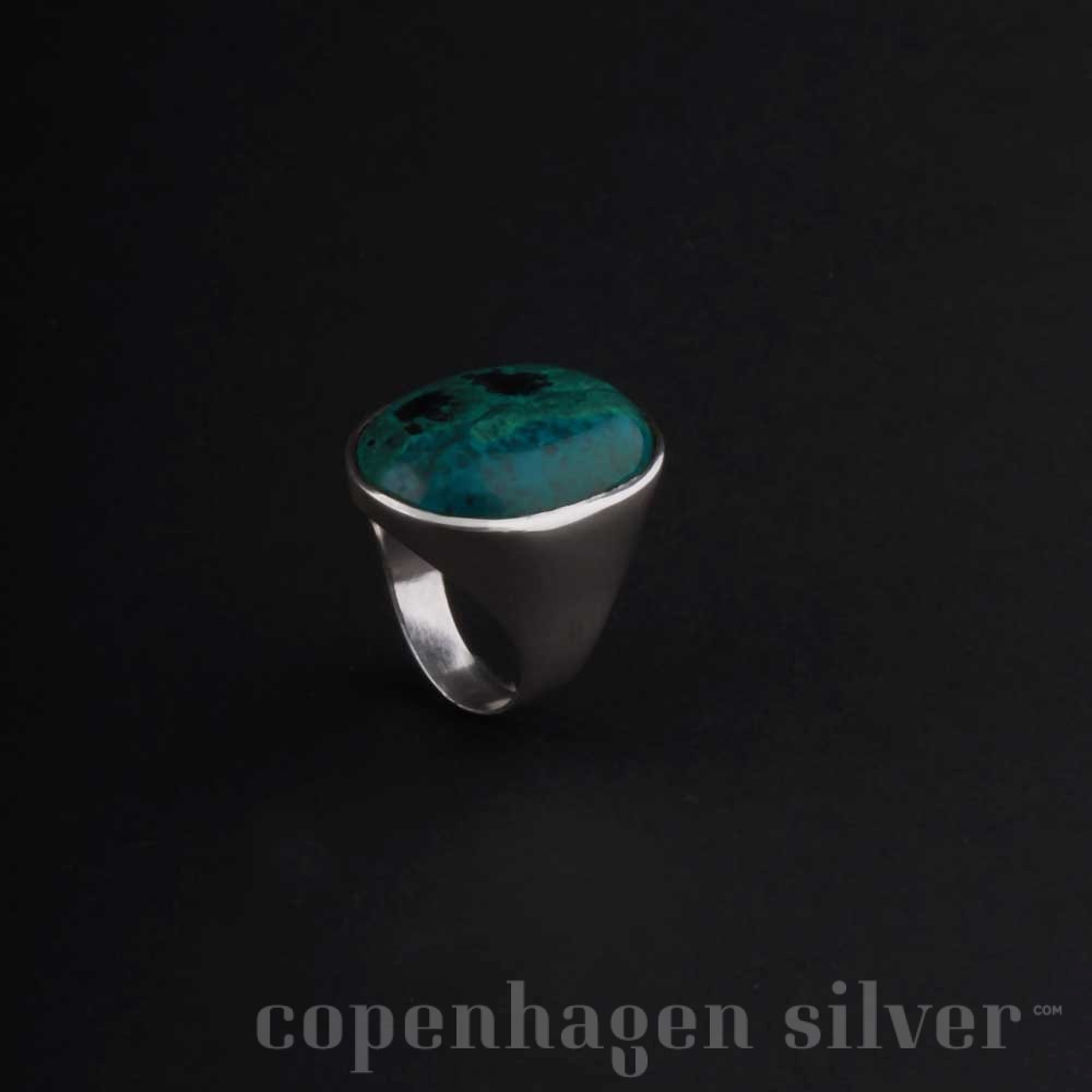 israel sterling silver ring with green stone copenhagen silver