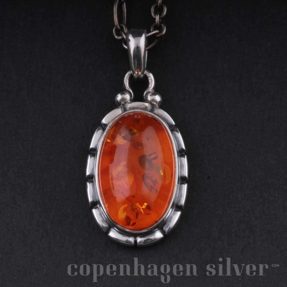 Georg Jensen Sterling Silver Pendant With Amber 2001