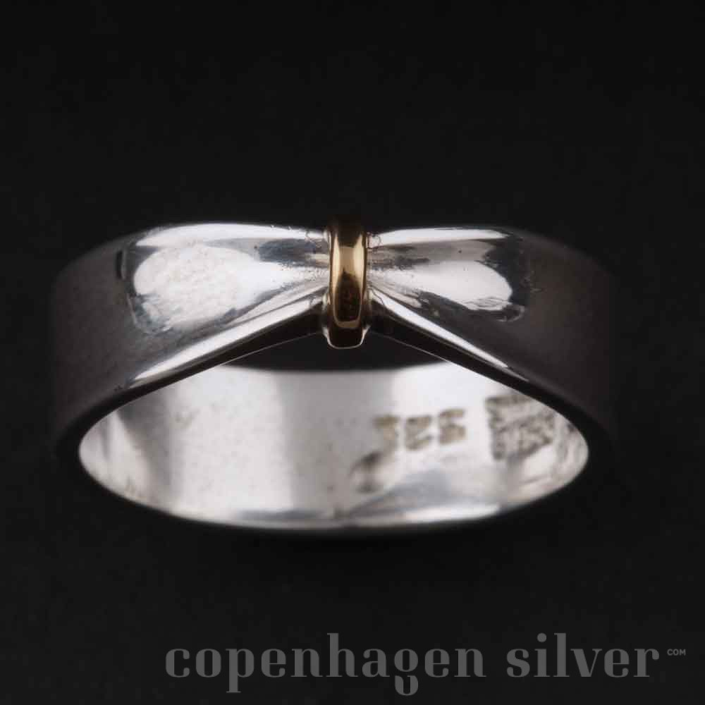 Modish GEORG JENSEN Sterling Silver Ring with 18 Carat Gold # 321 OE-16