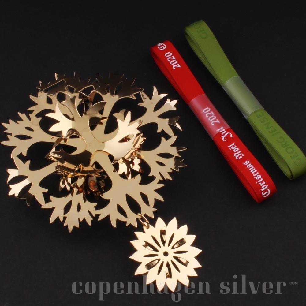 Danish Georg Jensen 1987-2017 Christmas Mobile Gold Plated Snowflake New Box